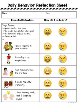 Daily Behavior Reflection Sheet - with Visuals