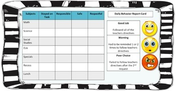 Classroom Management Daily Behavior Report Card