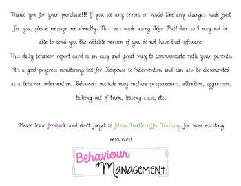 Daily Behavior Report Card
