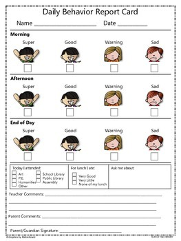 daily weekly behavior report card freebie by traci bender the