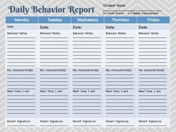 Daily Behavior Report & Classroom Management
