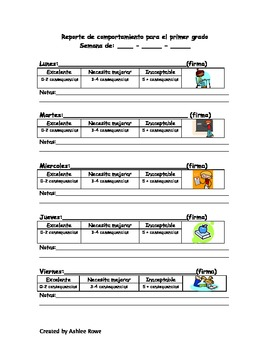 Daily Behavior Report (English and Spanish Version)