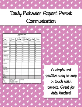 Daily Behavior Report and Parent Communication