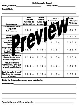 Daily Behavior Report for Classroom Management