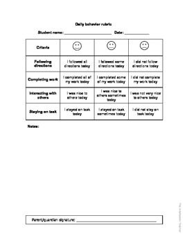 Daily Behavior Rubric