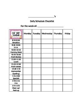 Daily Behavior Schedule Checklist