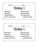 Daily Behavior Sheet
