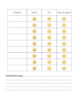 Daily Behavior Sheet