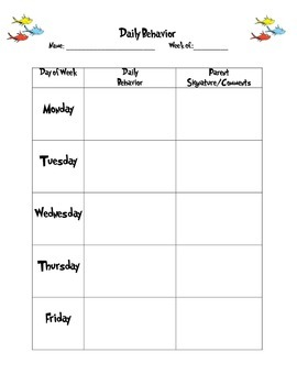 Daily Behavior Sheet (Dr. Suess)
