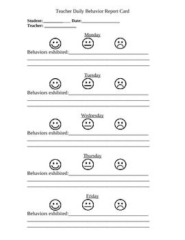 Daily Behavior Sheet - Individual