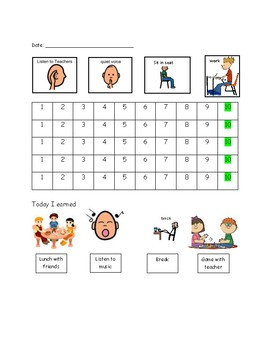 Daily Behavior Sheet with visuals