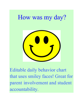 Daily Behavior Chart Using Smiley Faces!