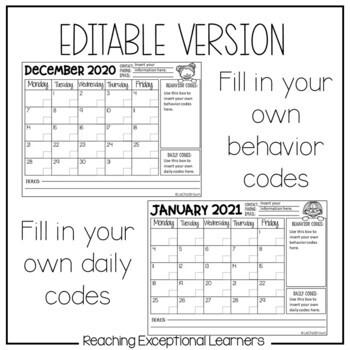 Daily Behavior Take Home Calendar