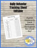 Daily Behavior Tracking Sheet