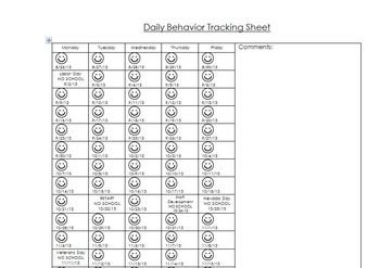 Daily Behavior Tracking Sheet/Log - 1 page for the ENTIRE SCHOOL YEAR!
