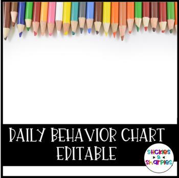 Editable Daily Behavior Chart
