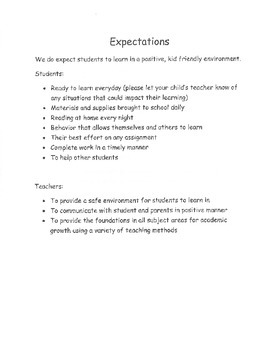 Daily Behavior conduct sheet with expectations letter for parents