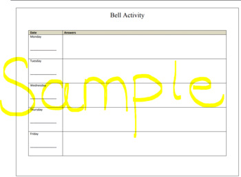Daily Bell Activity Template
