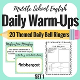 Daily Bell Ringers - Middle School English - 4 Weeks of Warm ups