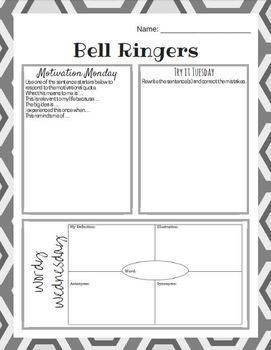 Daily Bell Ringers - Middle School English - Warm Ups - 100 Day Bundle