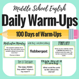Daily Bell Ringers - Middle School English - Warm Ups - Gr
