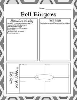 Daily Bell Ringers SET 2 - Middle School English - 4 Weeks of Warm ups