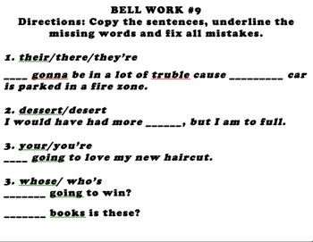 Daily Bell Work: Grammar, common errors, homophones, punctuation, spelling