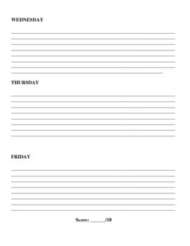 Daily Bell Work Student Form