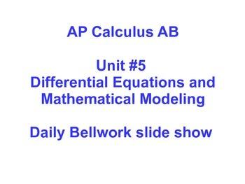 Daily Bellwork - AP Calculus AB Unit #5 - Scott Foresman