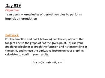 Daily Bellwork - Unit #2 AP Calculus AB  Scott Foresman