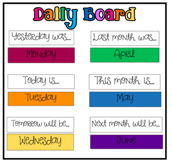 Daily Board... Days of the Week/ Months of the Year