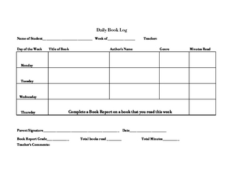 Daily Book Log Record Template/Printable