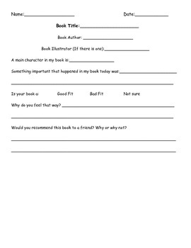 Daily Book Reading Form