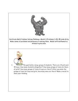 Math-2nd Grade-Month 01: Challenge Problem Solving (Questions 1-20)