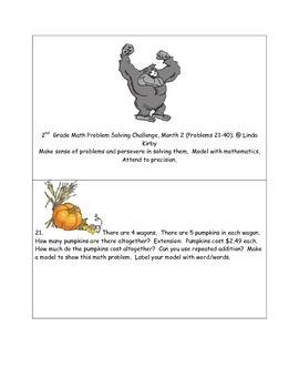 Math-2nd Grade-Month 02: Challenge Problem Solving (Questions 21-40)