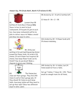 Math-4th Grade-Month 04: Challenge Problem Solving (Questions 61-80)