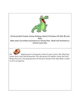 Math-4th Grade-Month 08: Challenge Problem Solving (Questions 141-160)