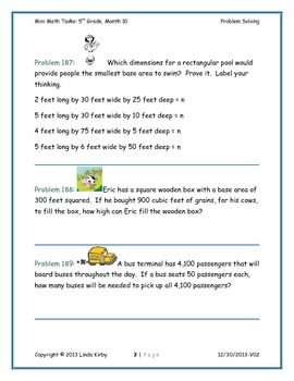 Math-5th Grade-Month 10: Challenge Problem Solving (Questions 181-200)