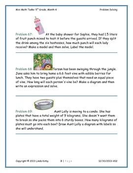 Math-5th, Grade-Month 04: Challenge Problem Solving (Questions 61-80)