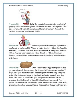 Math-5th Grade-Month 05: Challenge Problem Solving (Questions 81-100)