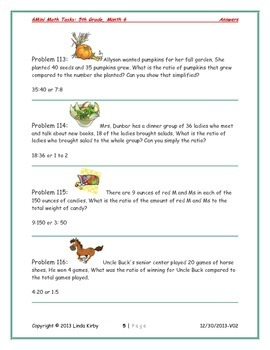 Math-5th Grade-Month 06: Challenge Problem Solving (Questions 101-120)
