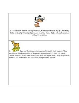 Math-3rd Grade-Month 01: Challenge Problem Solving (Questi