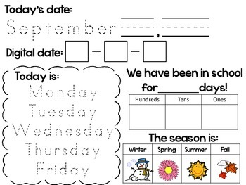 Daily Calendar Activity Sheets