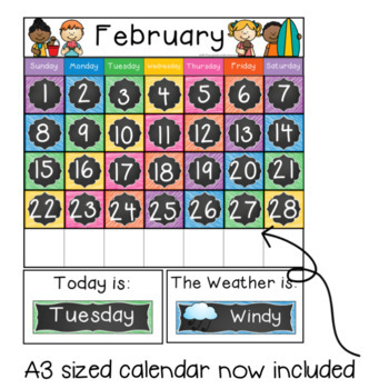 Daily Calendar Display for the Australian Classroom {Chalkboard}