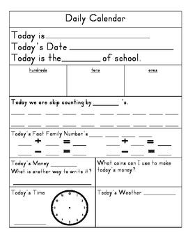 Daily Calendar Form