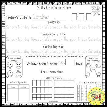 Calendar Daily Activities
