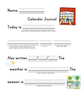Daily Calendar Journal with writing