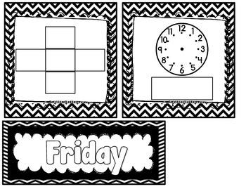 Daily Calendar Kit {Black and White}