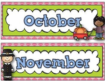 Daily Calendar Kit {Shabby Chic - pink, blue, green}