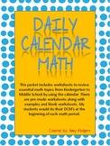 Daily Calendar Math (Grades K - Middle School)